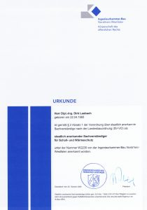 staatlich anerkannter Sachverständiger für Schall und Wärmeschutz