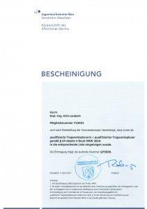Qualifizierter Tragwerksplaner § 54 Absatz 4 BauO NRW